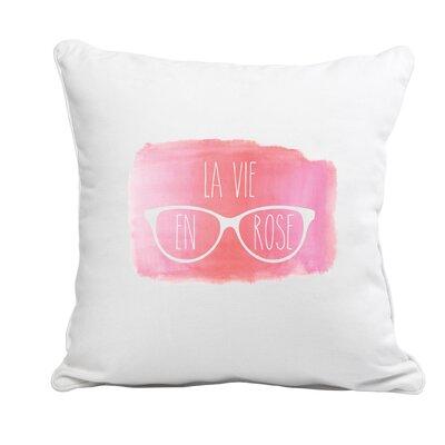 Printed Canvas La Vie En Rose Throw Pillow