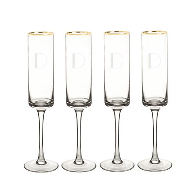 Personalized 4 Piece 8 Oz. Champagne Flute 3668G-4