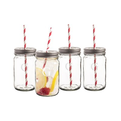 Personalized Mason Jar with Lid and D�corative Straw LID1283-4