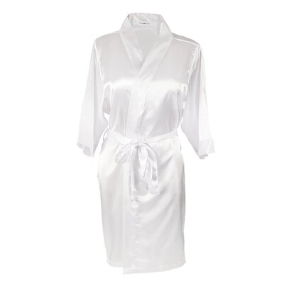 Personalized Satin Bathrobe Color: White, Size: Small/Medium