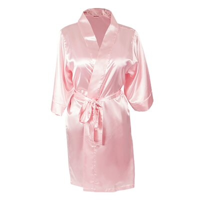 Team Bride Satin Bathrobe Size: Small/Medium, Color: Pink