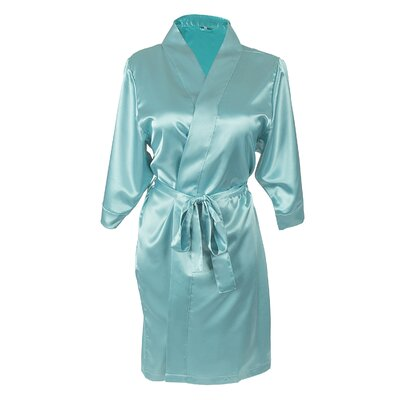 Team Bride Satin Bathrobe Size: Small/Medium, Color: Aqua