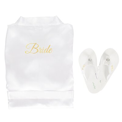 Bride Satin Bathrobe with Flip Flops Size: Large Robe/Medium Flip Flops, Color: Gold