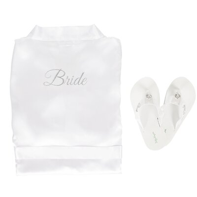Bride Satin Bathrobe with Flip Flops Size: Medium Robe/Large Flip Flops, Color: Silver