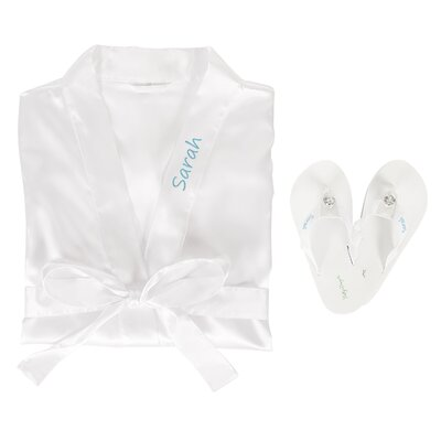 Personalized Satin Bathrobe with Flip Flop Set Color: White, Size: Small/Medium Robe, Medium Flip Flops