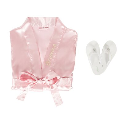 Personalized Satin Bathrobe with Flip Flop Set Color: Pink, Size: Small/Medium Robe, Large Flip Flops