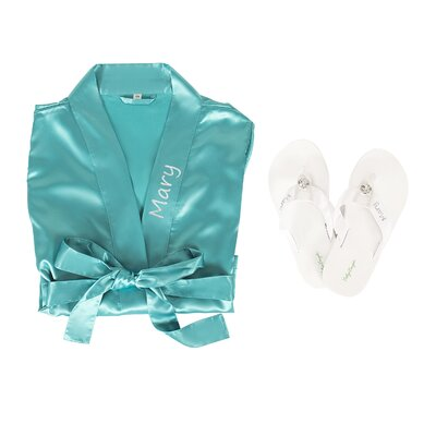 Personalized Satin Bathrobe with Flip Flop Set Color: Aqua, Size: Small/Medium Robe, Medium Flip Flops