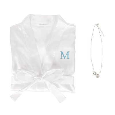 Personalized Satin Bathrobe and Necklace Set Color: White, Size: Small/Medium Robe