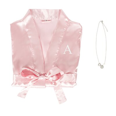 Personalized Satin Bathrobe and Necklace Set Color: Pink, Size: Large/XLarge Robe
