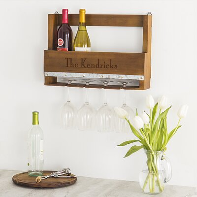 Personalized Rustic 5 Bottle Wall Mounted Wine Rack