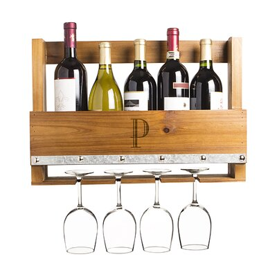 Personalized Rustic 5 Bottle Wall Mounted Wine Rack Letter: P