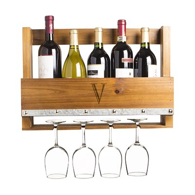 Personalized Rustic 5 Bottle Wall Mounted Wine Rack Letter: V