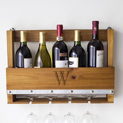 Personalized Rustic 5 Bottle Wall Mounted Wine Rack Letter: W