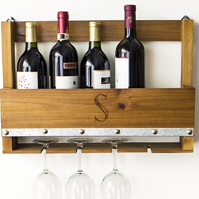 Personalized Rustic 5 Bottle Wall Mounted Wine Rack Letter: S