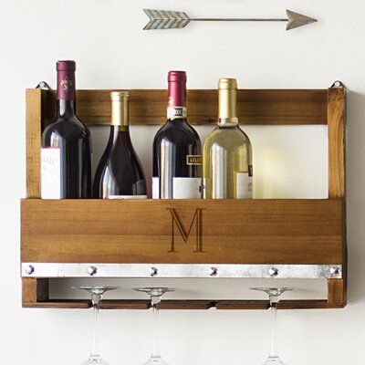 Personalized Rustic 5 Bottle Wall Mounted Wine Rack Letter: M