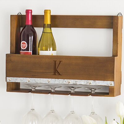 Personalized Rustic 5 Bottle Wall Mounted Wine Rack Letter: K