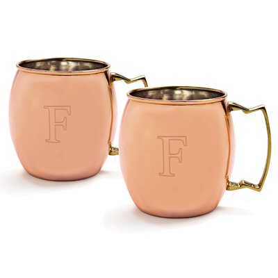 Metz Personalized 20 Oz. Moscow Mule Copper Mug with Unique Handle Letter: F