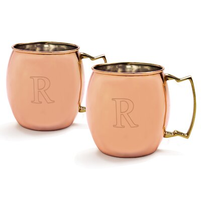 Metz Personalized 20 Oz. Moscow Mule Copper Mug with Unique Handle Letter: R