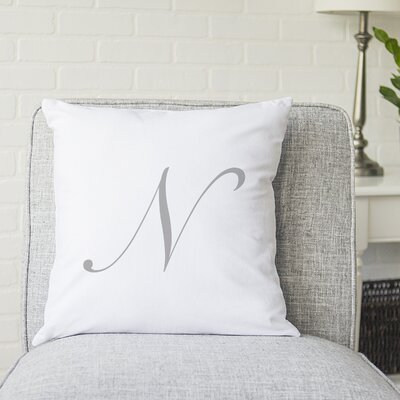 Bradley Personalized Script Initial Throw Pillow Letter: N