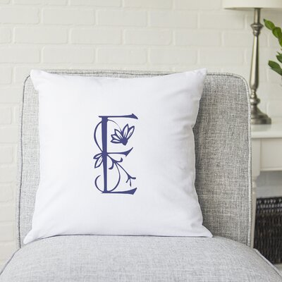Attina Personalized Floral Initial Throw Pillow Letter: E