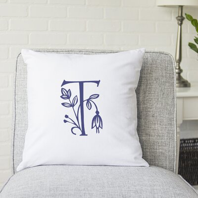 Attina Personalized Floral Initial Throw Pillow Letter: T