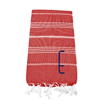Personalized Red Turkish Beach Towel Color: E