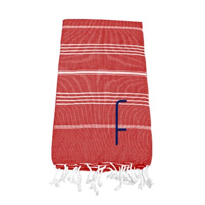 Personalized Red Turkish Beach Towel Color: F