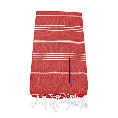 Personalized Red Turkish Beach Towel Color: I