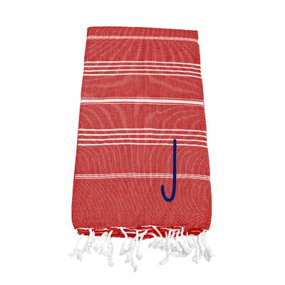 Personalized Red Turkish Bath Towel Color: J