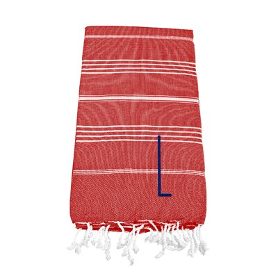 Personalized Red Turkish Bath Towel Color: L