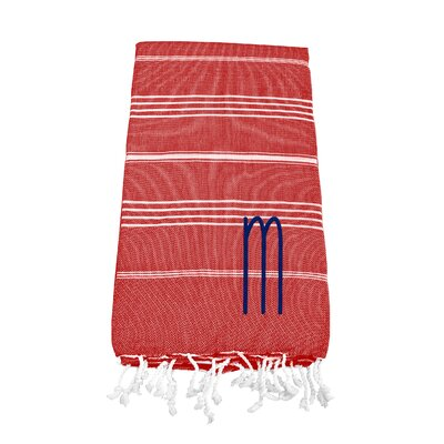 Personalized Red Turkish Beach Towel Color: M
