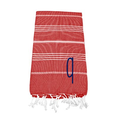 Personalized Red Turkish Beach Towel Color: Q