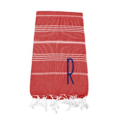 Personalized Red Turkish Beach Towel Color: R