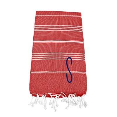 Personalized Red Turkish Bath Towel Color: S