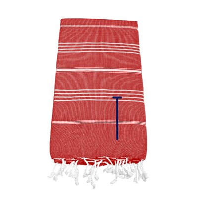 Personalized Red Turkish Beach Towel Color: T