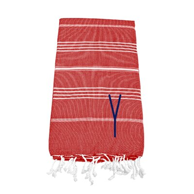 Personalized Red Turkish Beach Towel Color: Y