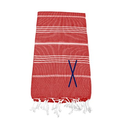 Personalized Red Turkish Beach Towel Color: X