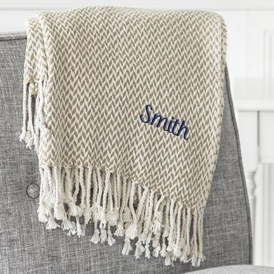 Personalized Herringbone Cotton Throw Color: Taupe