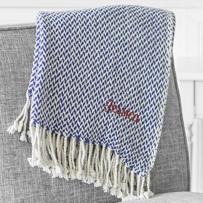 Personalized Herringbone Cotton Throw Color: Dark Blue