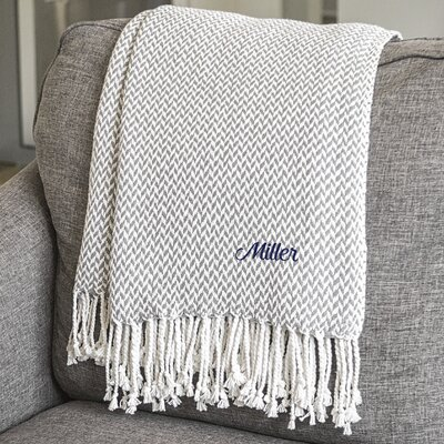 Personalized Herringbone Cotton Throw Color: Gray