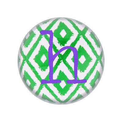 Dulane Ikat Domed Glass Paper Weight Letter: H
