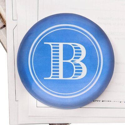 Strauss Block Domed Glass Paper Weight Letter: B