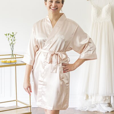 Oglethorpe Personalized Luxury Bathrobe Color: Light Pink, Size: Large