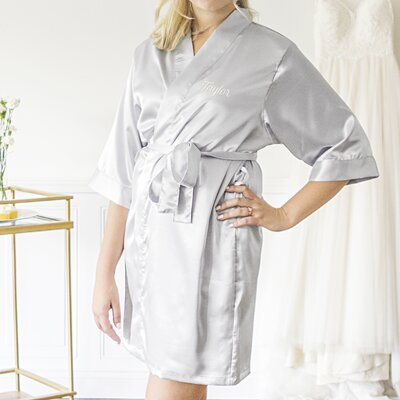 Personalized Luxury Bathrobe Color: Silver, Size: Large