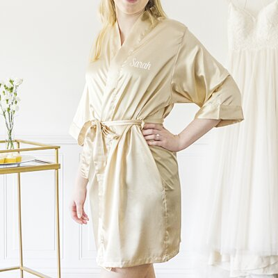 Oglethorpe Personalized Luxury Bathrobe Color: Gold, Size: Small