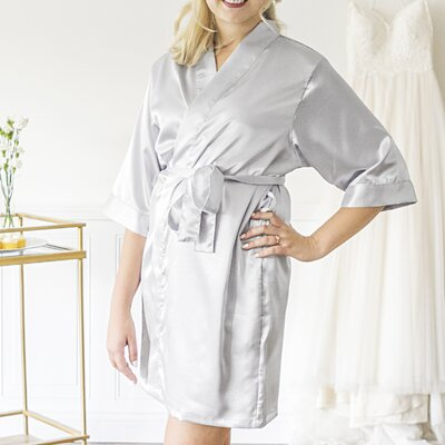 Oakham Personalized Glitter Script Bathrobe Color: Silver, Size: Large