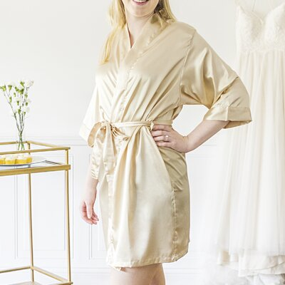 Mellen Bride Bathrobe Size: Large, Color: Gold