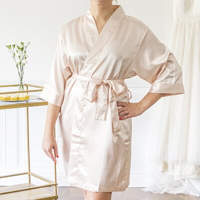 Personalized Luxury Bathrobe Color: Light Pink, Size: Large