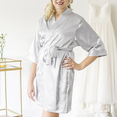 Mellen Bride Bathrobe Size: Large, Color: Silver