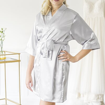 Personalized Luxury Bathrobe Color: Silver, Size: Small